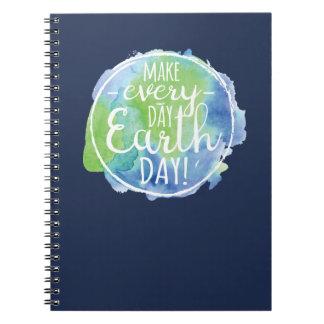 Haga el cuaderno diario del Día de la Tierra
