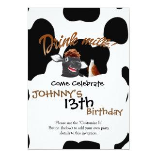Haga la vaca de leche de la bebida de las vacas invitación 12,7 x 17,8 cm