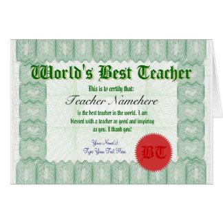 Haga que el mejor profesor de un mundo certifica tarjeta de felicitación