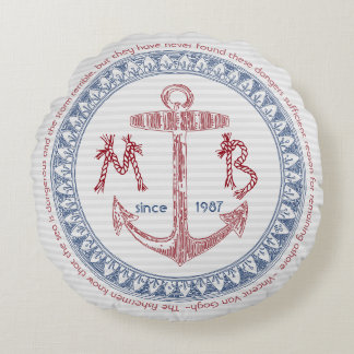 Haga su propia ancla del vintage el monograma cojín redondo