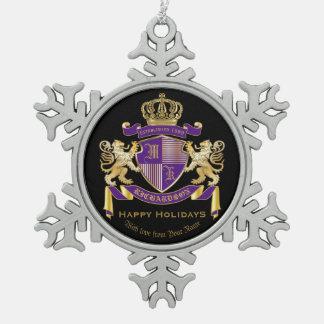 Haga su propio emblema de la corona del monograma adorno de peltre tipo copo de nieve
