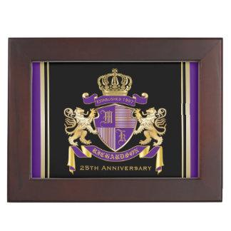 Haga su propio emblema de la corona del monograma caja de recuerdos