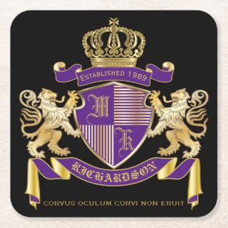 Haga su propio emblema de la corona del monograma posavasos cuadrado de papel