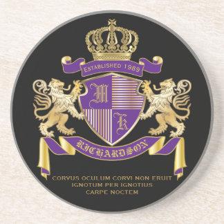Haga su propio emblema de la corona del monograma posavasos de arenisca