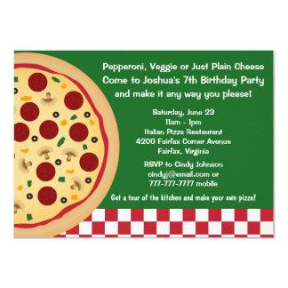 Haga sus propios niños de la pizza a la fiesta de invitación 11,4 x 15,8 cm