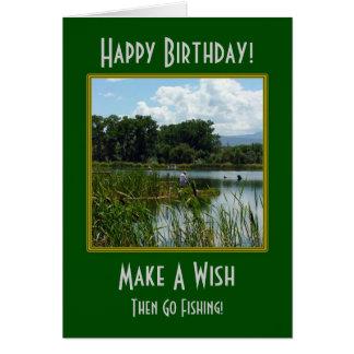 Haga un deseo que pesca la tarjeta de cumpleaños