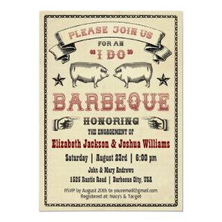 HAGO Bbq - invitación de la carne asada del cerdo Invitación 12,7 X 17,8 Cm