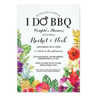 HAGO la ducha de los pares del Bbq que la hawaiana Invitación 12,7 X 17,8 Cm