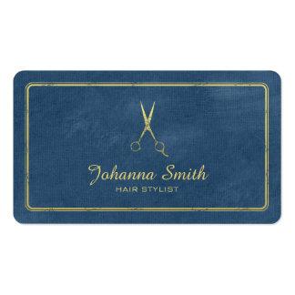 Hairstylist de oro de las tijeras de la lona azul tarjetas de visita