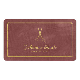 Hairstylist de oro de las tijeras de la lona de la tarjetas de visita