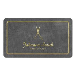 Hairstylist de oro de las tijeras de la lona gris tarjetas de visita