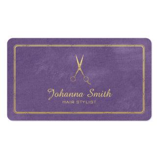 Hairstylist de oro de las tijeras de la lona tarjetas de visita