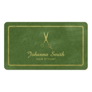 Hairstylist de oro de las tijeras de la lona verde tarjetas de visita