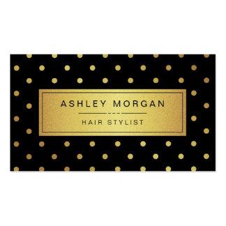 Hairstylist - puntos negros del oro blanco tarjetas de visita