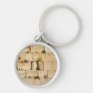 HaKotel - la pared occidental en Jerusalén Llavero Redondo Plateado