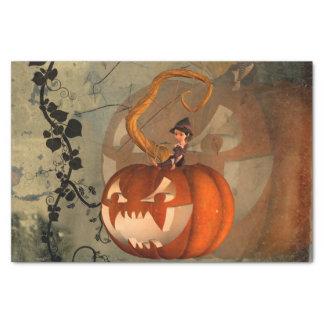 Halloween, calabaza divertida con la bruja linda papel de seda