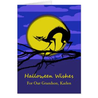 Halloween delantero de encargo para el nieto, gato tarjeta de felicitación