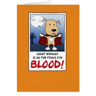 Halloween divertido: Perro del vampiro de Barkula Tarjeta De Felicitación