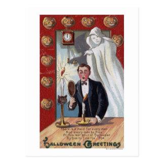 Halloween GreetingMan y fantasma Postal