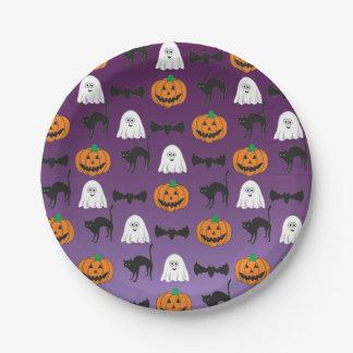 Halloween - niño - familia - diversión - placa de plato de papel