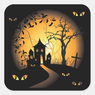 Halloween - ojos que frecuentan que le miran pegatina cuadrada