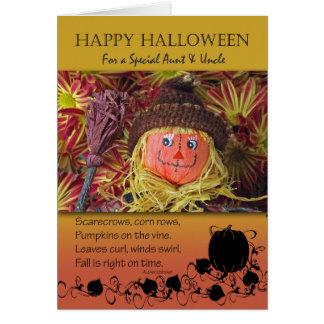 Halloween para la tía y tío, espantapájaros y tarjeta de felicitación