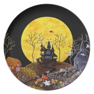 Halloween, placa, fantasmas, frecuentó, contiene, plato