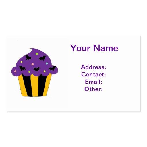 Halloween púrpura golpea la magdalena plantillas de tarjeta de negocio