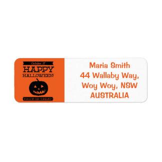 Halloween retro tipográfico etiqueta de remite