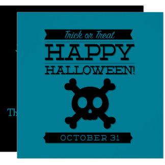 Halloween retro tipográfico invitación 13,3 cm x 13,3cm