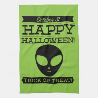 Halloween retro tipográfico paño de cocina