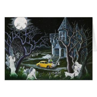 Halloween, saludo, tarjeta, fantasmas, ángeles, tarjeta de felicitación