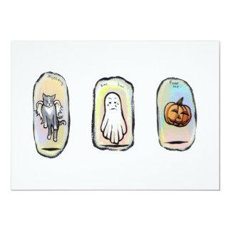 Halloween se fue volando el gato, fantasma, arte invitación 12,7 x 17,8 cm