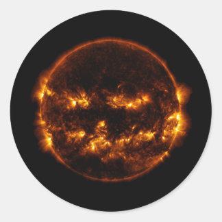 Halloween Sun/Jack-O-Linterna Pegatina Redonda