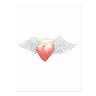 Halo del ala del corazón postal