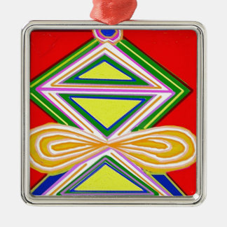 HALU HALOO Karuna Reiki - símbolos del triángulo Adorno Navideño Cuadrado De Metal