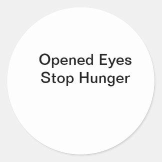 Hambre abierta de la parada de los ojos pegatina redonda