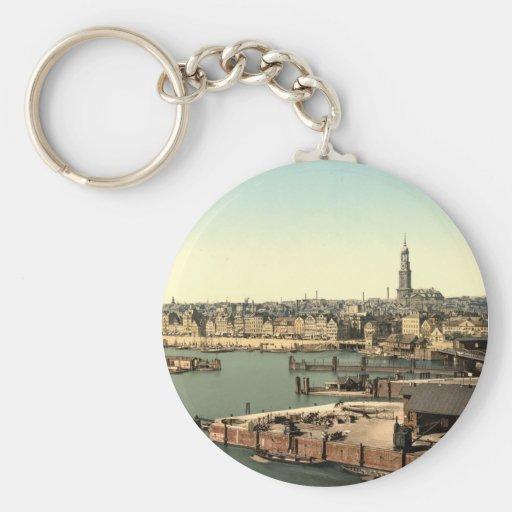 Hamburgo de la torre del reloj, Alemania Llavero Personalizado