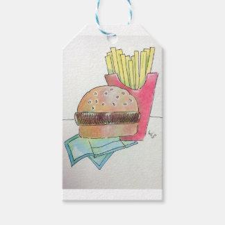 Hamburguesa con las fritadas etiquetas para regalos
