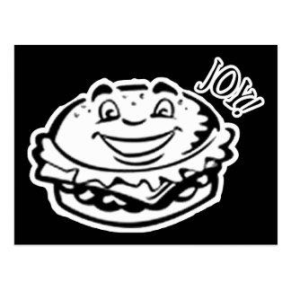 Hamburguesa de la alegría - negro y blanco postal