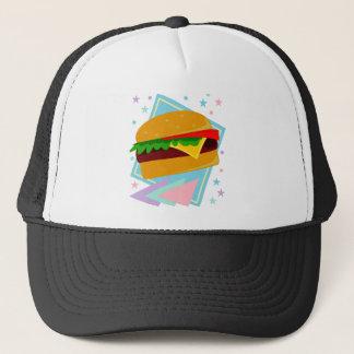 Hamburguesa deliciosa linda gorra de camionero