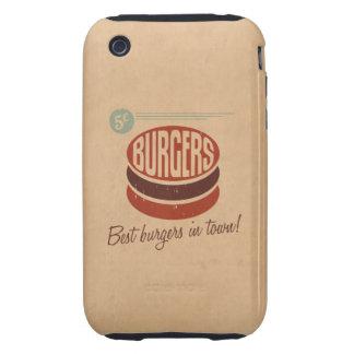 Hamburguesa retra tough iPhone 3 protectores