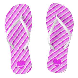 HAMbyWG - balanceos - rayas y corazón violetas Chanclas