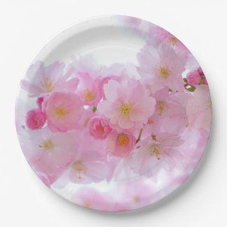 """HAMbyWG - placas de papel 9"""" - flores rosadas Plato De Papel"""