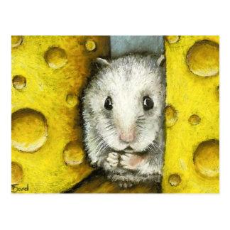 Hámster en una postal del estante del queso por el