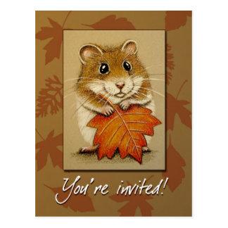 Hámster y hoja del otoño - postal