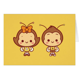 Hana y Hachi Notecard Tarjeta Pequeña