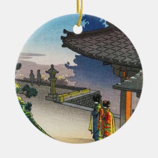 Hanga de la espinilla de la tarde del templo de adorno redondo de cerámica