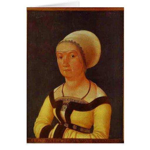 Hans Holbein - retrato de la mujer de 34 años Tarjeton