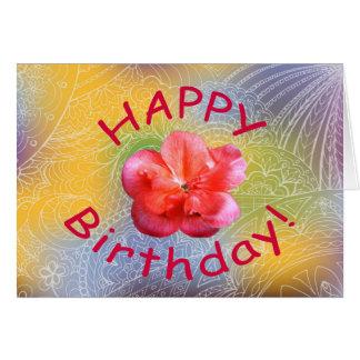 happy birthday red flower tarjeta de felicitación
